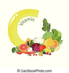 Vitamin C (ascorbic acid). A composition of natural organic ...