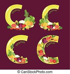 Vitamin C (ascorbic acid). A set of a composition of natural...