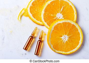 Vitamin C concept - Vitamin C, natural anti aging cosmetics...