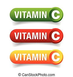 Vitamin C healthy button set vector