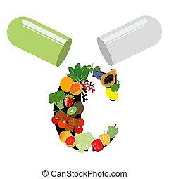 Vitamin C illustration on the white background. Vector ...
