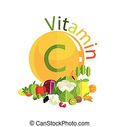 Vitamin C in fruits, vegetables, berries, herbs. Leaders of ...