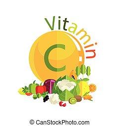 Vitamin C in fruits, vegetables, berries, herbs. Leaders of...