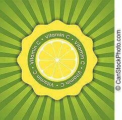 Vitamin C lemon badge in retro style on striped background