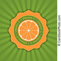 Vitamin C orange badge in retro style on striped background
