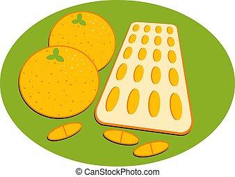 Vitamin C - Oranges and vitamin c tablets.