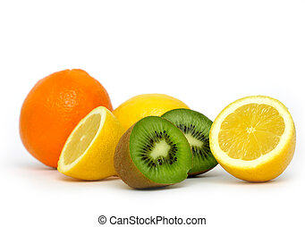 Orange, lemons and kiwi on white background.