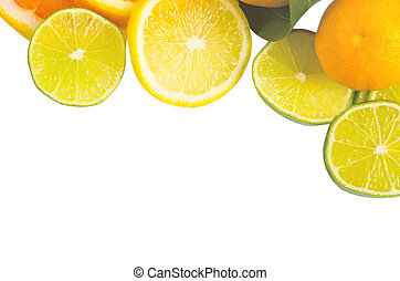 Vitamin C Overload, Stacks of sliced fruit isolated on white