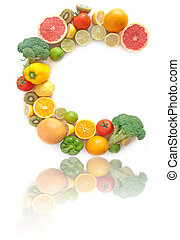 Vitamin C rich fruits and vegetables alphabet - C shape...