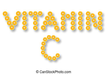 Vitamin C made from orange halves over a white background