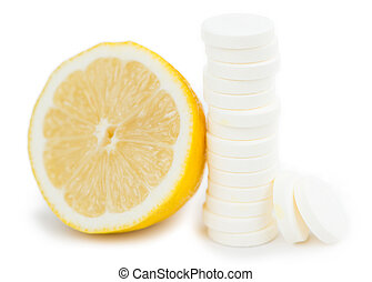 Vitamin C Tablets isolated on white background