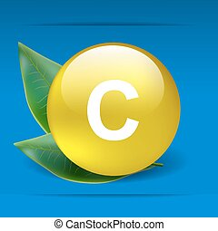 Vitamin C with green leaves as concept