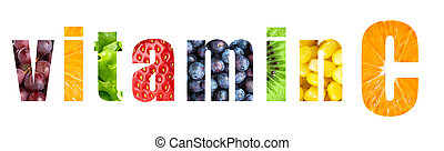 Vitamin C word on white background. Fresh fruits and...