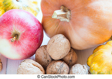 Vitamin collection of nuts, pumpkin, squash and apple
