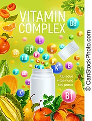 Vitamin complex fruits minerals pharmacy poster