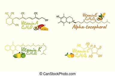 Vitamin Complex with Food K, A, E, C Label and Icon. Chemical Formula and Structure Logo. Vector Illustration