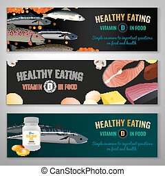 Vitamin D in food. Beautiful vector illustration. Landscape banners set.