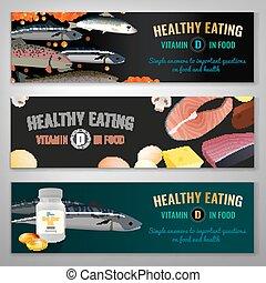 Vitamin D in food. Beautiful vector illustration. Landscape banners set.
