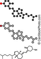 Vitamin D (D3, cholecalciferol, toxiferol) molecule....