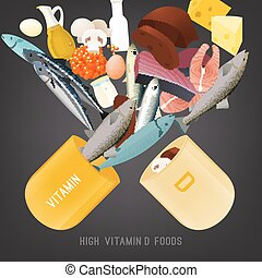Vitamin D in food. Beautiful vector illustration in modern style on a dark grey background. Top foods highest in Vitamin D. Nutritional and dietary concept.