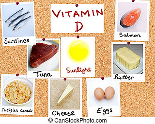 Vitamin D - pin board showing some food sources of vitamin D