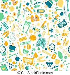 Vitamin D seamless pattern. Creative background with signs...