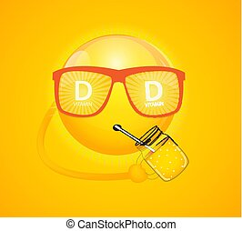Vitamin D Sun Sign Icon. Vector Illustration
