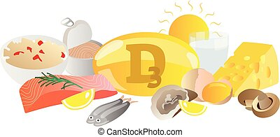 Vitamin D3 vector illustration. Its source collection set. Fish, eggs, milk, sun, caviar and capsule isolated on white background. Healthy and good living nutrition.