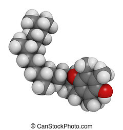 Vitamin E (alpha-tocopherol), molecular model. Atoms are represented as spheres with conventional color coding: hydrogen (white), carbon (grey), oxygen (red)