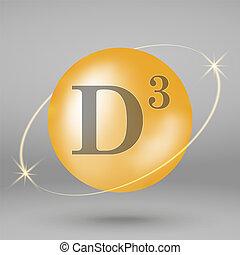 Vitamin gold icon. drop pill capsule.