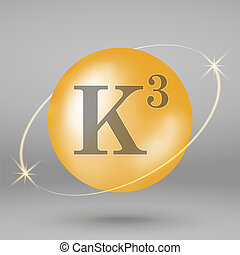 Vitamin gold icon. drop pill capsule. - Vitamin K3 gold icon...