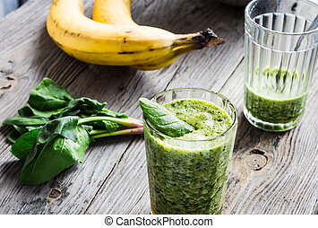 Vitamin green smoothie with spinach, banana, clean eating - ...