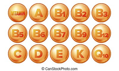 Vitamin Icons Set Vector. Organic Vitamin Gold Pill Icon. Medicine Capsule, Golden Substance. 3D Vitamin Complex With Chemical Formula. Isolated Illustration