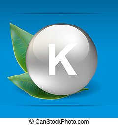 Vitamin K with green leaves as concept