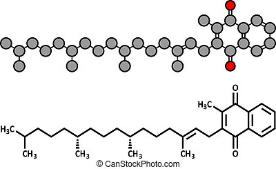 Vitamin K (K1, phylloquinone, phytomenadione) molecule....