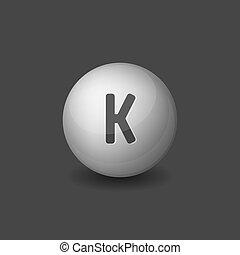 Vitamin K Silver Glossy Sphere Icon on Dark Background. Vector