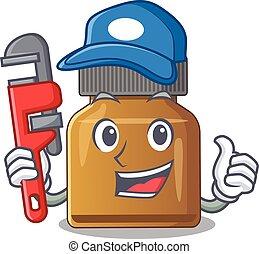 vitamin, karikatúra, palack, szerszám, vízvezeték szerelő, tervezés, b betű, betű