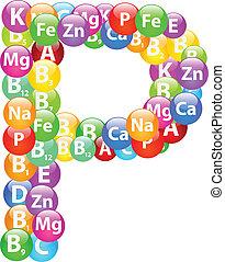 Vitamin Letter P Illustration