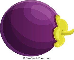 Vitamin mangosteen icon, cartoon style