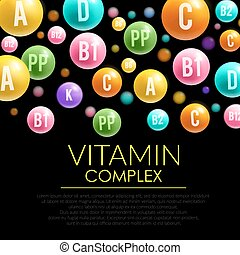 Vitamin pill 3d poster for health care design