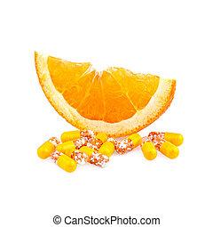 Vitamin pills and Orange Fruit