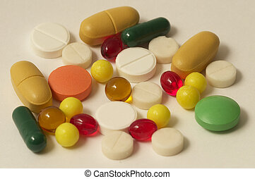 Vitamin pills - Colored glossy rounded multi vitamin pills...