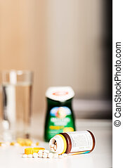 Vitamin pills on table with copy space