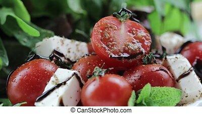 Vitamin salad from mozzarella, cherry tomatoes and lettuce...