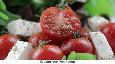 Vitamin salad from mozzarella, cherry tomatoes and lettuce....