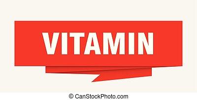 vitamin sign. vitamin paper origami speech bubble. vitamin...