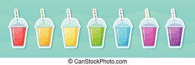 Vitamin smoothie cocktail summer sticker set
