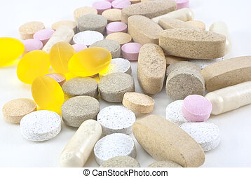 Vitamin Supplement Pills - A mixture of different vitamin ...
