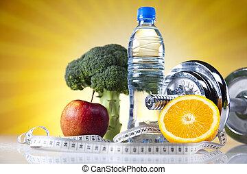 vitamin, und, fitness, diät, hantel