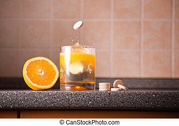 vitamina c, forma de vida sana, concepto